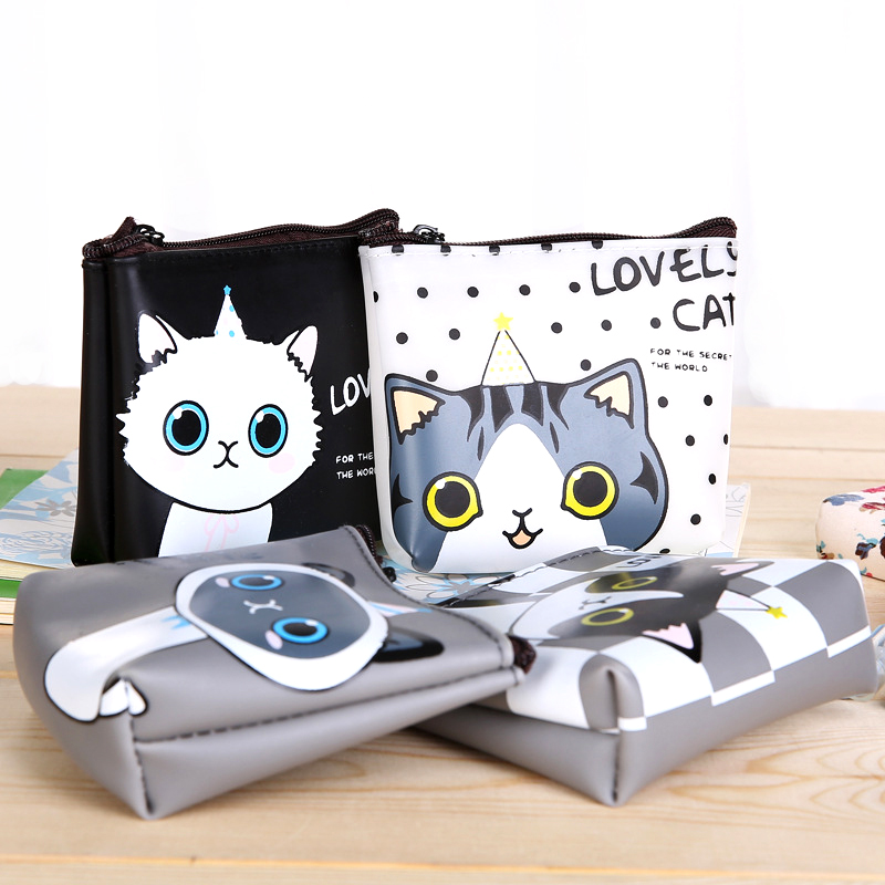 4 Styles Creative Lovely Cartoon Cat Storage Boxes PU Leather Stationery  Pouch Coins Candy Kids Gift School Office Supply Cool