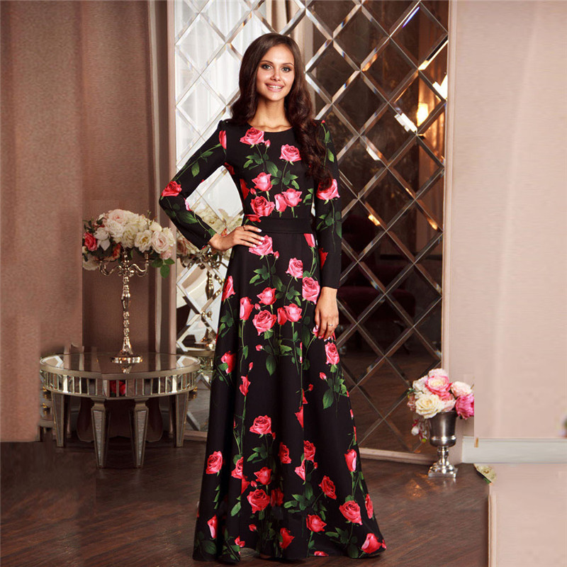 FGHGF Rose Flower Plus Size Christmas Dress For Women Black Friday Maxi Dress Female O-neck A-line Long Evening Party