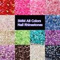 Atacado 6 packs 10000 pçs/saco 3mm 14 Cores Rodada AB Natator 3D Nail Art Strass Decorações de Beleza Charme Prego ferramentas NA110