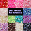 Wholesales 6packs 10000pcs/bag 3mm 14Colors Round AB Flatback 3D Nail Art Rhinestone Beauty Charm Decorations Nail Tools NA110
