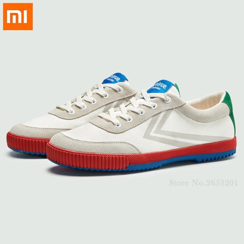 Xiaomi youpin sapatos de lona antiderrapante respirável ponto de onda hit cor suave confortável ao ar livre baixo sapatos brancos pequenos para homem mulher