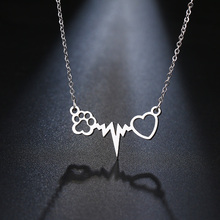 Cats Paws Love Heart Pendant Necklace