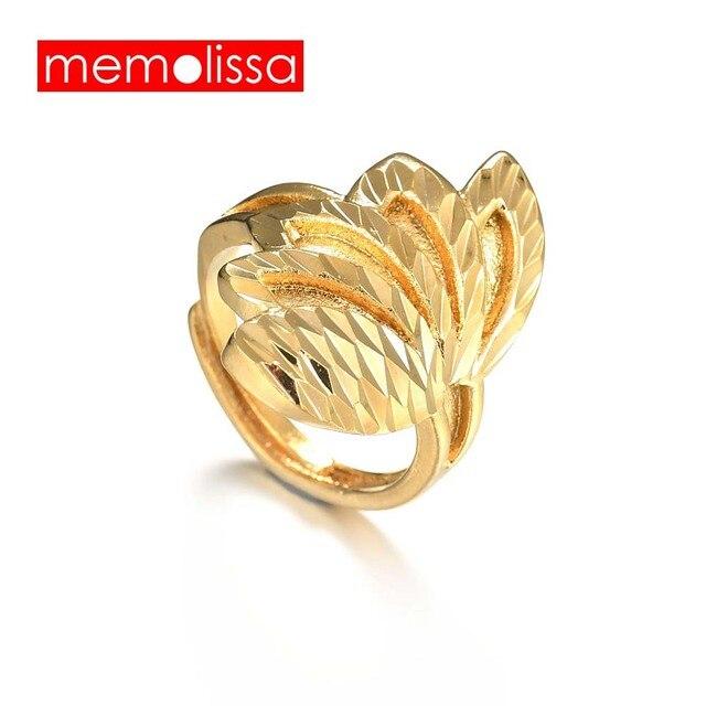 Memolissa Ethiopian Trendy Leaf Ring Gold Color For Women Men Rings