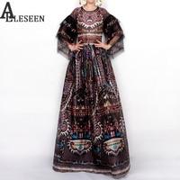 Casual Designer Dress 2017 Spring Europe New Fashion Retro Print Half Sleeve Floor-Length Slim Black Long Dress