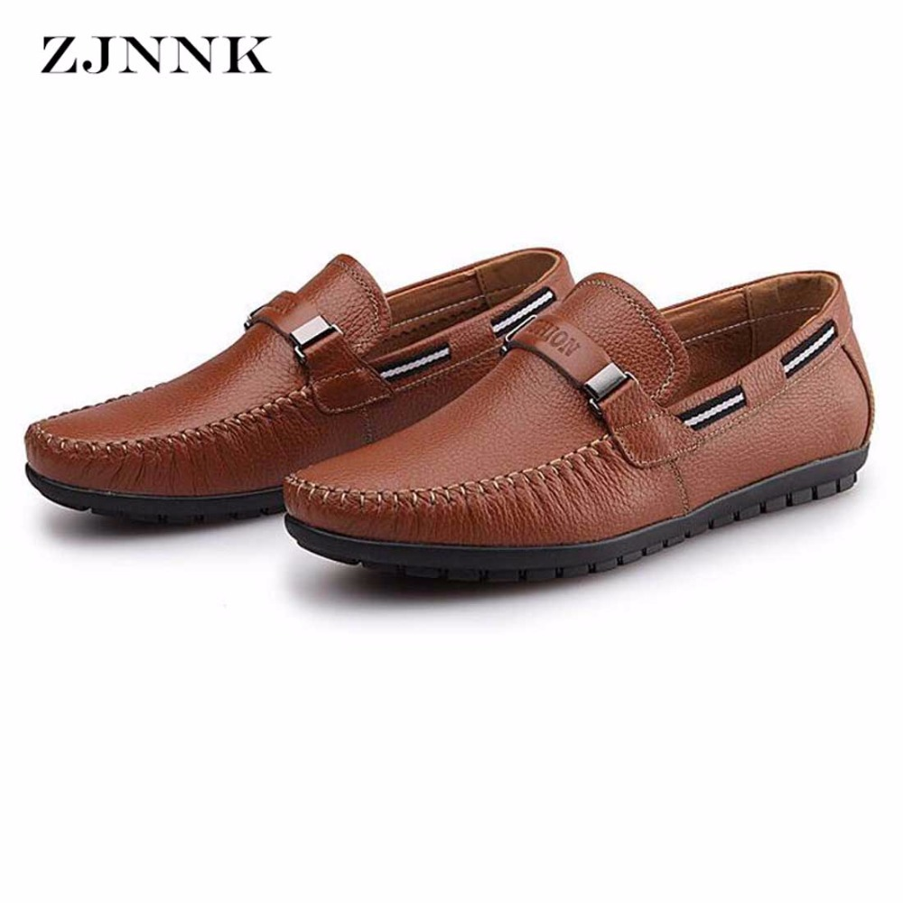 ZJNNK Cow Leather Men Loafers Driving Boat Shoes Fashion Mens Moccasins Chaussure Homme Soft Sole Men Leather Casual Flats Shoes genuine leather men casual shoes summer loafers breathable soft driving men s handmade chaussure homme net surface party loafers