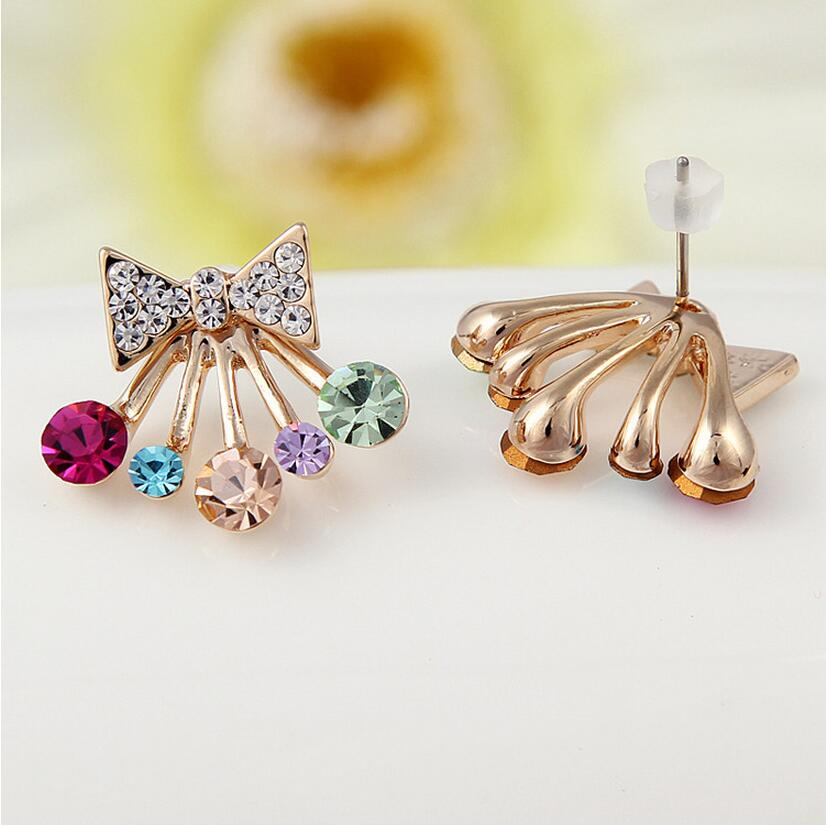 New !! Fashion Fine Jewelry Gold Color Sweet Cute Colorful Crystal Bowknot Crown Star Stud Earrings For Women Bijouterie E-122