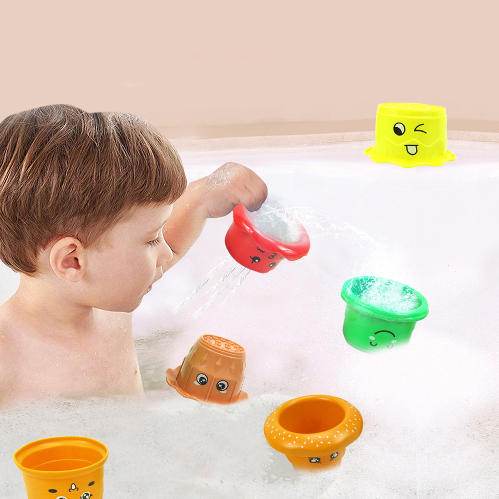 Classic Children's Toys For Swimming Bathing Toys For Newborn Stacking Toy Set 6Pcs Stacking Cups Baby Toy For The Bathroom Z724