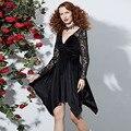 9cda10a8601 Rosetic Gothic Asymmetric Dress Black Women Autumn Hollow Backless Lace  V-Neck Fashion Sex Prom Retro Party Victorian Goth DressUSD 35.30 piece