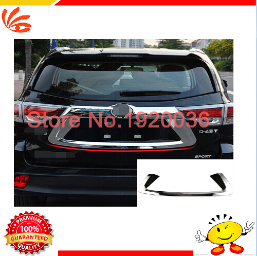 High Quality Car Styling ABS Chrome Rear License Plate Frame Cover Trim For Toyota Highlander 2015