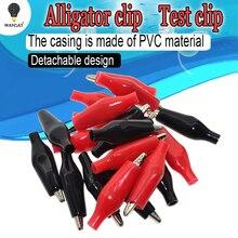 Pinza de cocodrilo de Metal G98, 20 unids/lote, 28MM, pinza eléctrica de cocodrilo para prueba, medidor de sonda, negro y rojo con Bota de plástico