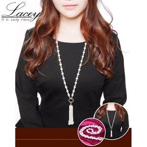 Image 2 - Collar largo multicapa de perlas para mujer, gargantilla de perlas de agua dulce, borla, mezcla de colores, joyería