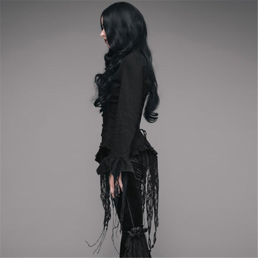 Steampunk Blouses femme rétro Palace manches longues dentelle gland chemises Top noir blanc Court Sexy Blouse - 5