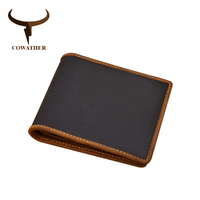 COWATHER Crazy Horse Leather Men's Wallet Top Quality Cow Genuine Leather Short Style Wallet for Men Fashion Cowhide Male Purse