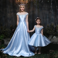 2018 Summer Mother Daughter Wedding Dress Satin Clothes Off Shoulder Mom and Daughter Baby Tutu Dress Family Matching Outfits