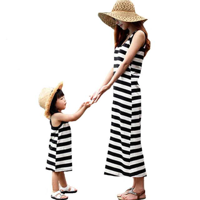 6d2c83c4e2408 Mother Daughter Matching Maxi Dresses Family Look Striped Summer Outfits