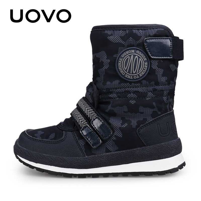 UOVO 2019 חדש הגעה ילדי שלג מגפי עבור בנים ובנות חם חורף נעלי אופנה אמצע עגל ילדים הנעלה גודל Eur #30-38