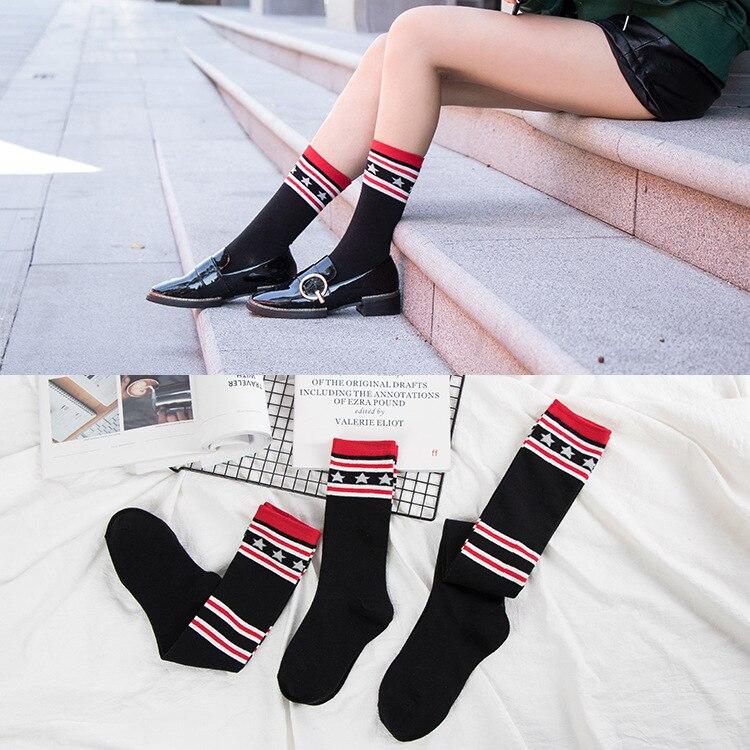 Autunno e inverno sopra il ginocchio calze calzini caldi delle signore del cotone stella del paragrafo calzini del tubo di modo tre formati selezionati