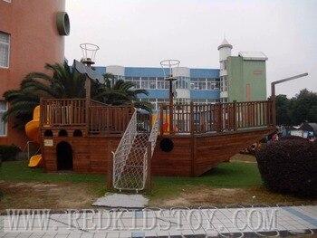 Exporté aux Maldives bord de mer en bois aire de jeux extérieure Super qualité enfants bois bateau Pirate HZ-19401