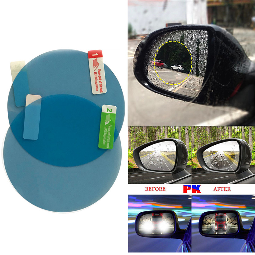 2PCS Rainproof Car Rearview Mirror Waterproof Anti Fog Rain Proof Coating PET Film Covers rain blades sticker 2pcs car rearview mirror waterproof membrane transparent clear film sticker film for cars see more clearly on rainy days safer