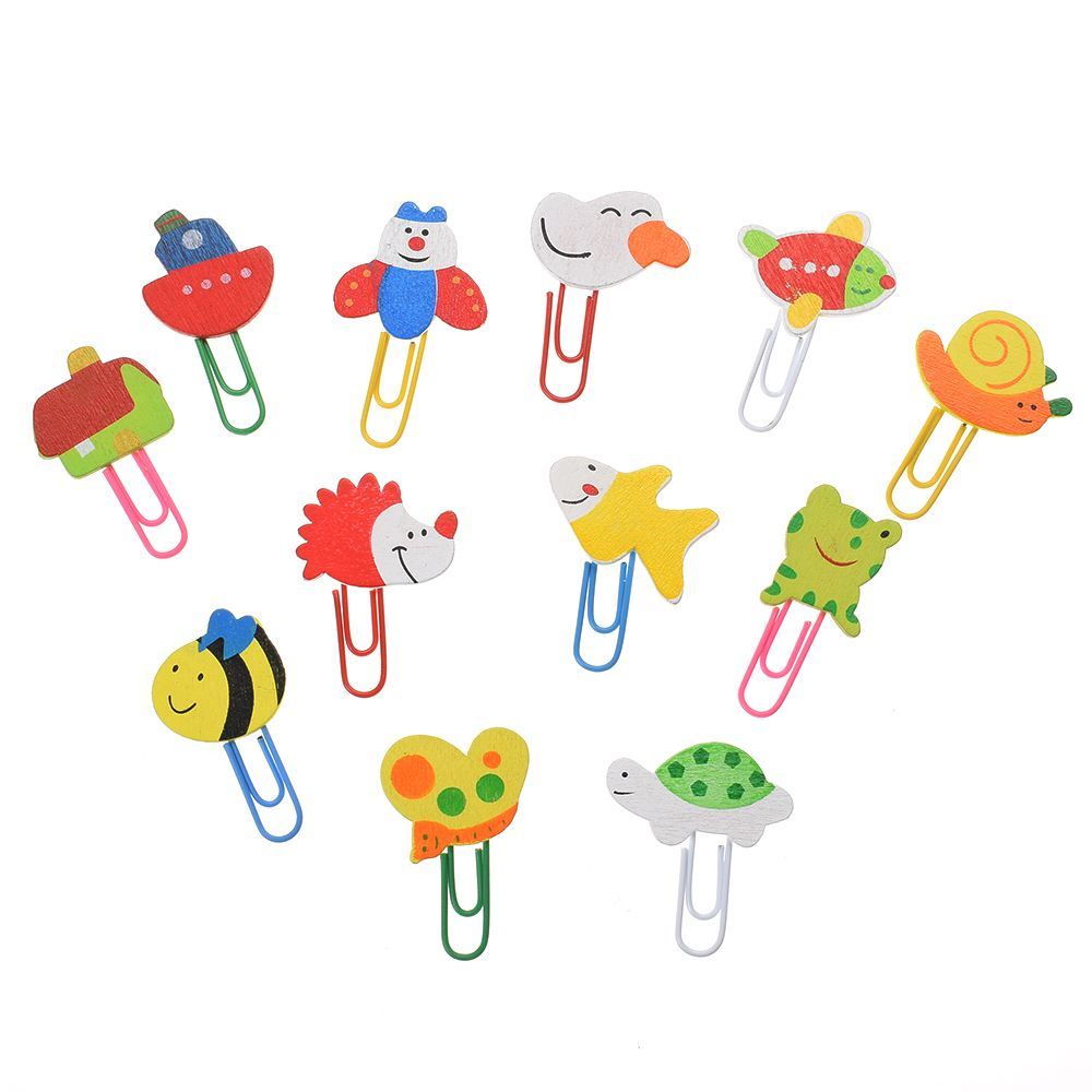12Pcs Cartoon Animal Pattern Wooden Paper Clips School Student Bookmark