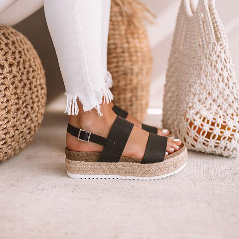 Women Sandals 2019 New Chunky Platform Sandals With Wedges Shoes For Women Summer Chaussures Femme Leather Heels Sandalias Mujer