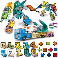 10 Digital Number Transform Car Truck Plane Tank Robot deformation Montessori Education Children kids Toy gift