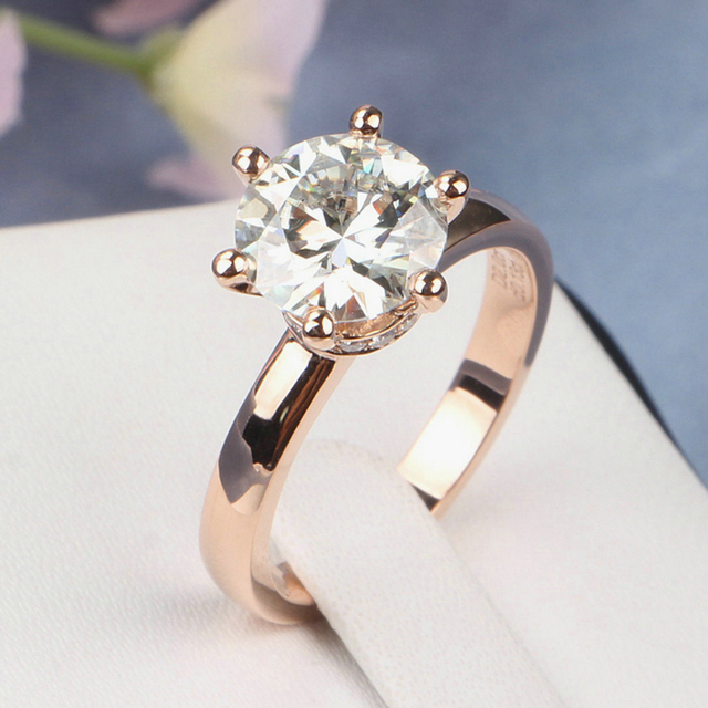 2 Carat Ct GH Color Engagement Wedding Lab Grown Moissanite Diamond Ring With Real Accents