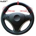 HuiER ручного шитья чехол рулевого колеса автомобиля красный маркер для BMW E90 320i 325i 330i 335i E87 120i 130i 120d удобные стайлинга автомобилей