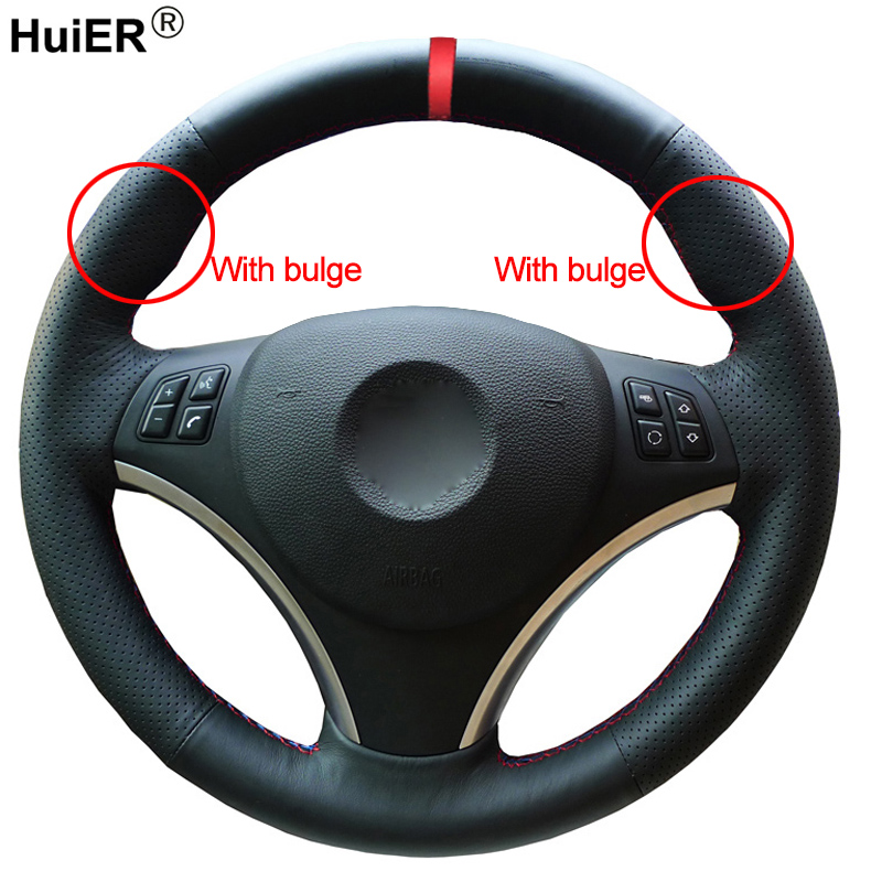 HuiER Hand Sewing Car Steering Wheel Cover Red Marker For BMW E90 320i 325i 330i 335i E87 120i 130i 120d Comfortable Car StylingHuiER Hand Sewing Car Steering Wheel Cover Red Marker For BMW E90 320i 325i 330i 335i E87 120i 130i 120d Comfortable Car Styling