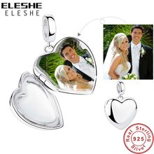 ELESHE Authentic 100% 925 Sterling Silver Charm Bead Fit Bracelet Necklace DIY Custom Photo Personalized Jewelry Making(China)