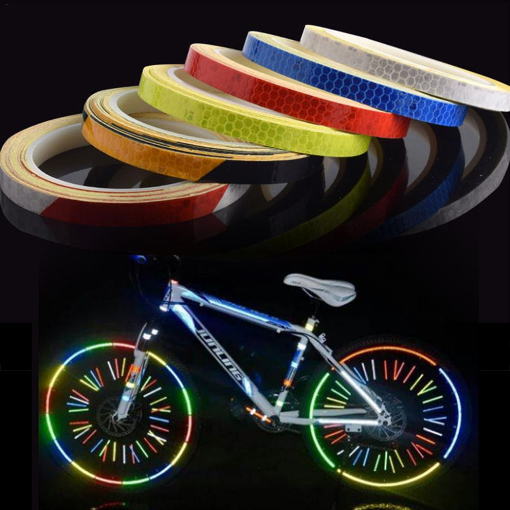 Reflective Strips Wheel Rim Sticker Tape Bicycle Motorcycle Car Decal Red 8m