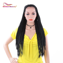 Golden Beauty 30inch African Box braided Lace Front Wigs for Black Women Natural Black Color Long Synthetic hair цена 2017