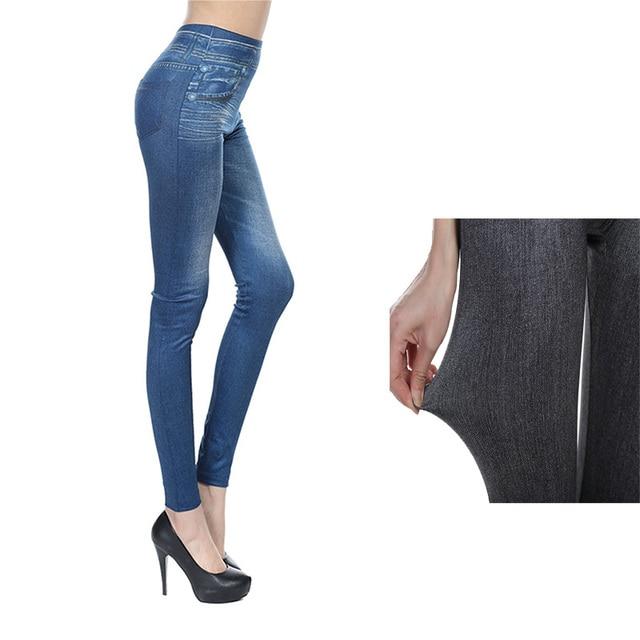 Automne Hiver Femmes Polaire Leggings Imitation Jeans Avec Poche Super  Élastique Mince Leggings Doux Fitness Pantalon 043ed963649
