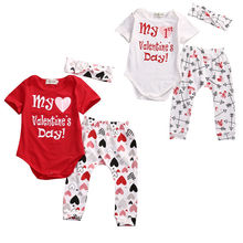 2017 Valentine's Day Baby Boy Girls Clothes Set Romper Pants Headband Outfits Set Baby Clothing