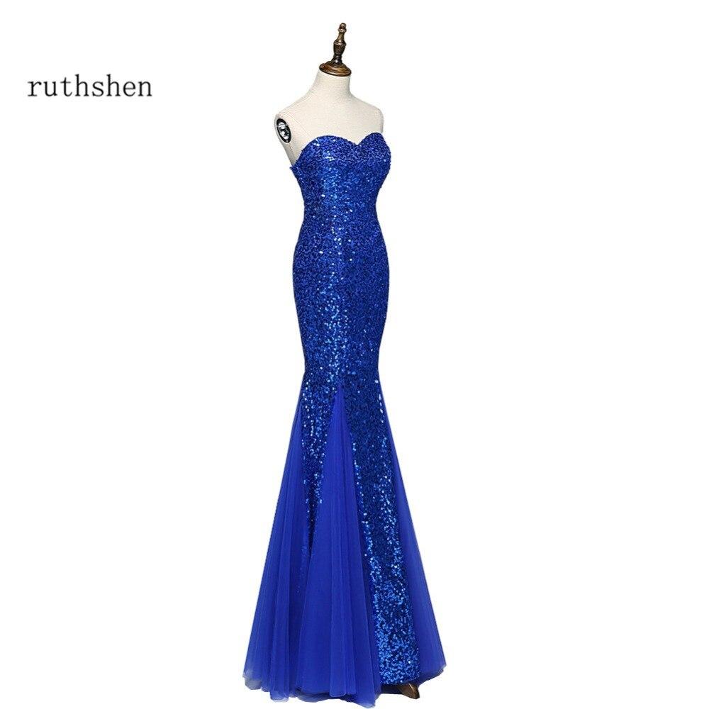 ruthshen Royal Blue Sequined Evening Dresses Long Cheap Mermaid ...
