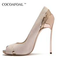 COCOAFOAL Woman Peep Toe High Heels Shoes Plus Size 33 43 Prom Valentine Open Toe Heels Shoes Stiletto Party Wedding Pumps 2018