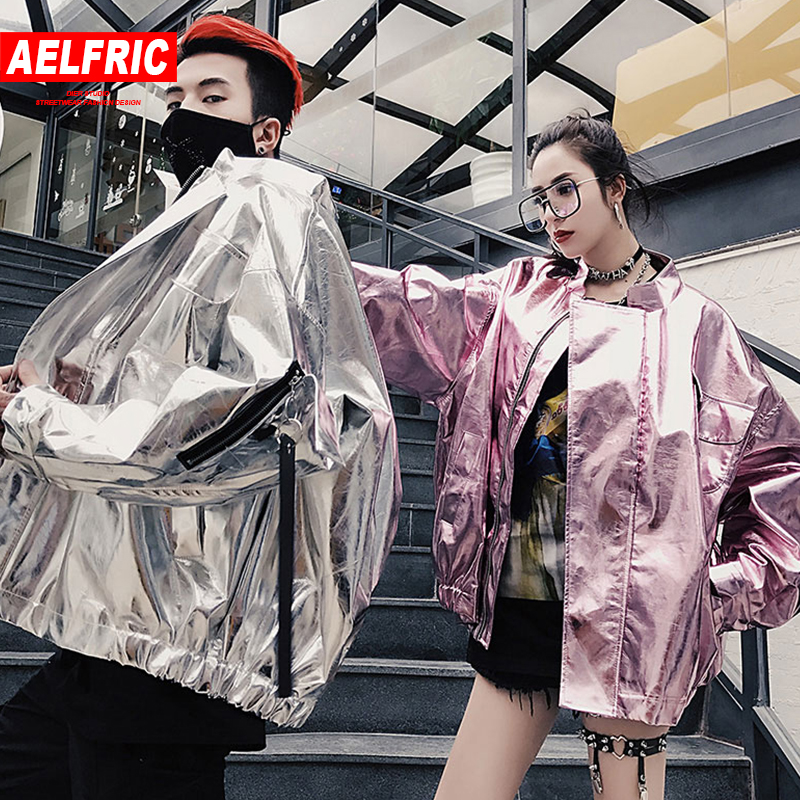Liberal Aelfric Japanese Streetwear Jackets Bright Pink Sliver Faux Leather Overcoats Fashion Casual Windbreaker Hip Hop Pu Jacket Tr29