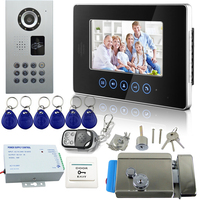 Wired Video Door Phone 7inch TFT Color Touch Button Video Intercom With Electric Lock Monitor Camera
