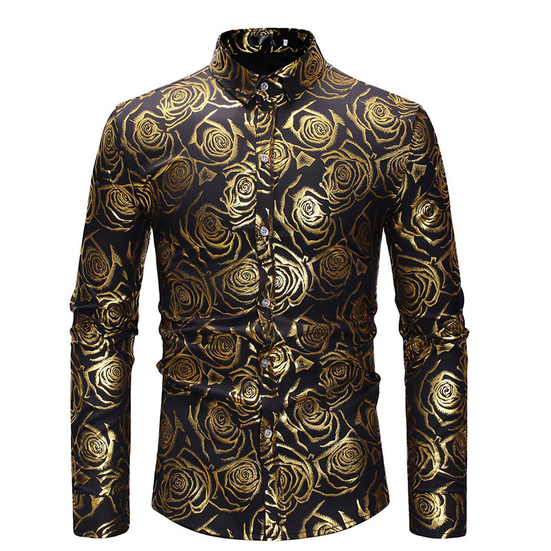 England Style Vintage Button Up Rose Foil Shirt Mens Hip-Hop Long Sleeves Top Slim Fitted Dance Shirt Shiny Clubwear For Men