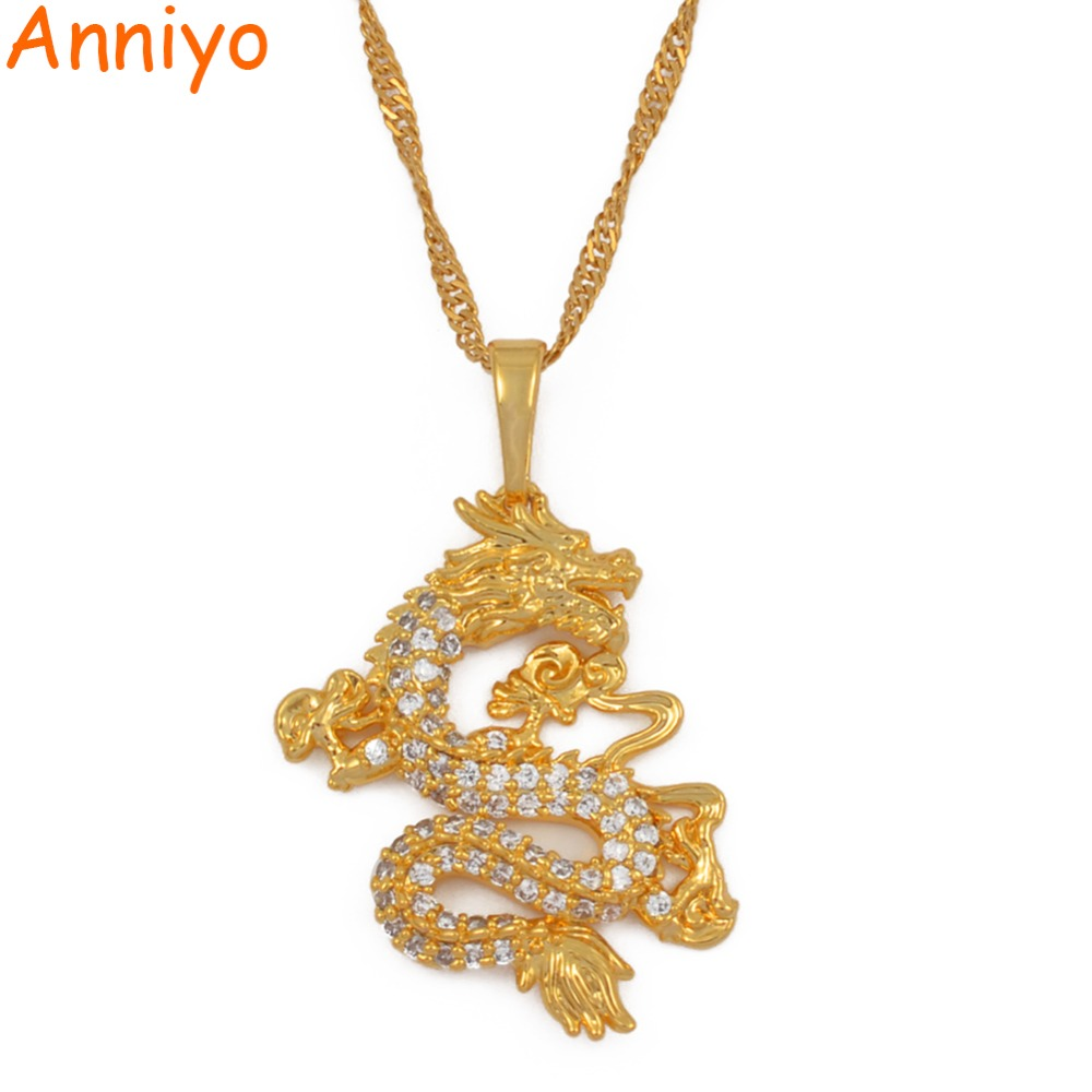 Anniyo CZ Dragon Pendant Necklaces for Women Men Gold Color Jewellery Cubic Zirconia Mascot Ornaments Lucky Symbol Gifts #064004
