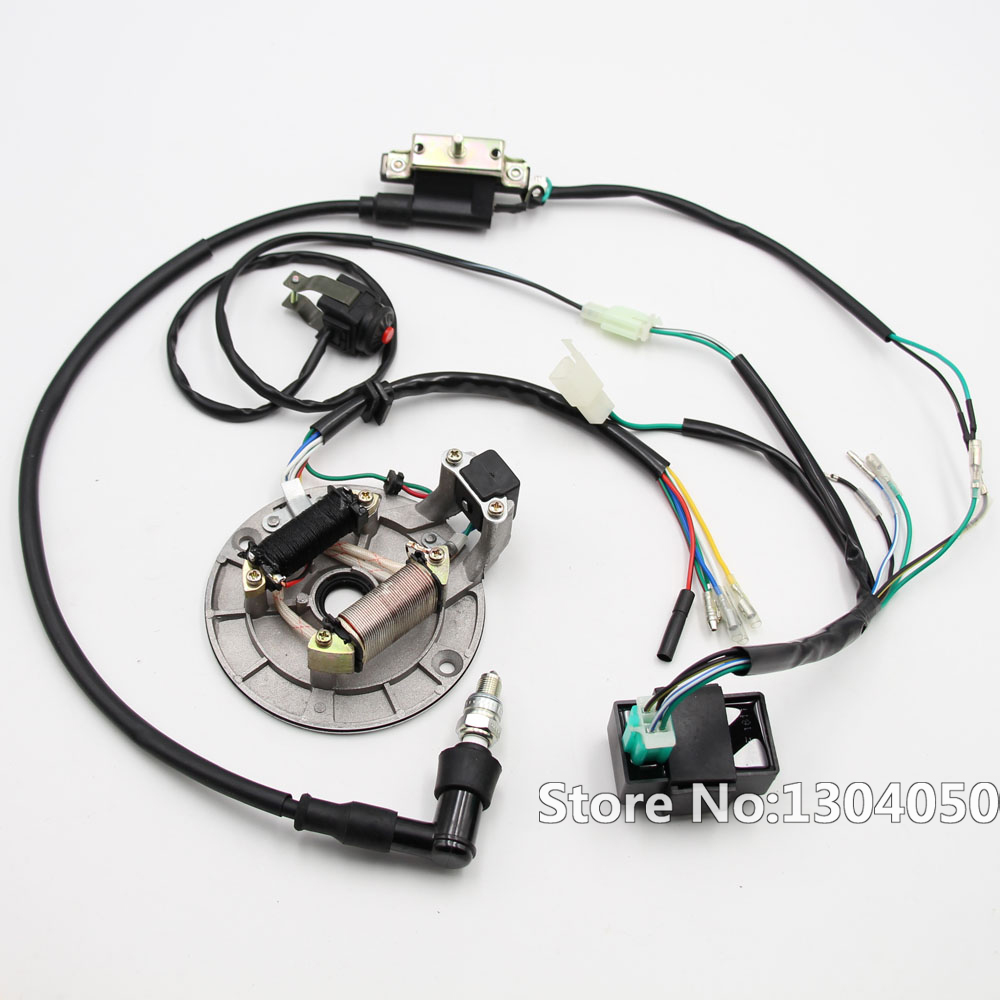 Full Wiring Harness Loom Solenoid Coil Regulator Cdi C7hsa Spark Atv Plug 50cc 70cc 110cc 125cc 140cc 150cc Quad Bike Kick Start