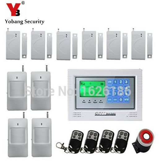 YobangSecurity Touch Keypad Wireless GSM SMS Smart Home Security Burglar Alarm System Smoke Sensor Voice PIR Motion Door Window yobangsecurity touch keypad wifi gsm gprs home security voice burglar alarm ip camera smoke detector door pir motion sensor