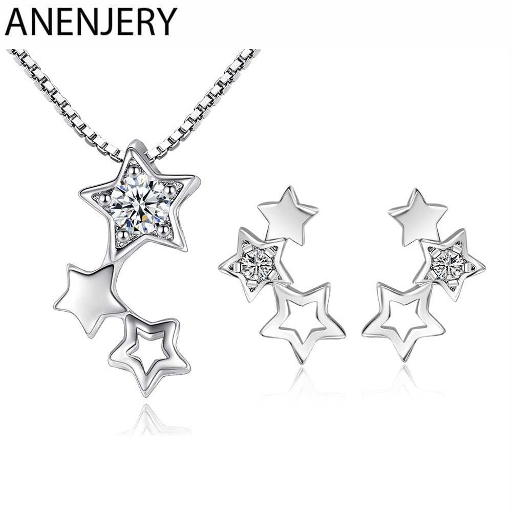 ANENJERY 925 Sterling Silver Jewelry Sets Simple Zircon Star Necklace+Earrings For Women Girl Gift