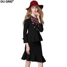 edd096e9d Mujeres oficina trabajo falda Blazers otoño señora negro bordado blusa Tops  + Ruffles Hem 2 unidades falda conjunto más tamaño