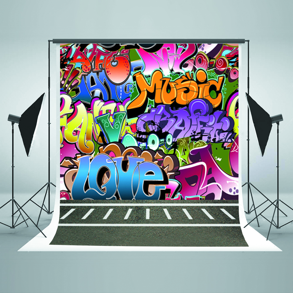 Graffiti wall vinyl - Children Photography Background Colorful Graffiti Wall Photo Backdrop Vinyl Black Ground Background For Photographic Studio In Background From Consumer