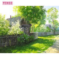 Украшение для гостиной, картины по номерам на холсте, соломенный домик и зеленые деревья, картины на холсте для гостиной