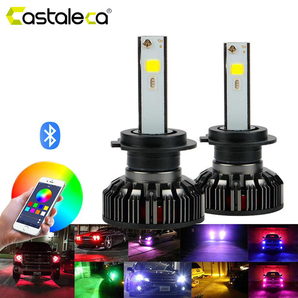 Castaleca Car <font><b>RGB</b></font> LED Headlight Bulbs <font><b>H4</b></font> H7 H11 H1 H3 9005 9006 APP Bluetooth Control Super Bright Auto Headlamp 12V image