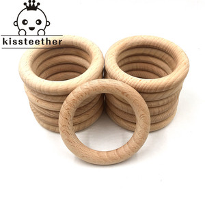 Image 2 - 50mm Nature Beech Wooden Ring Teether Baby Teether Wood Beads Baby Infants Teething Care Product DIY Wooden Teethers Necklace