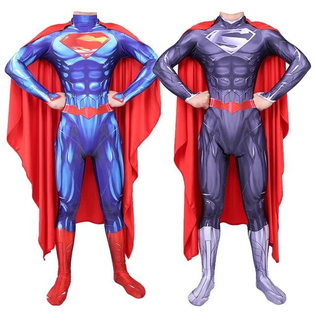 Adults Men Women Superman Clark Kent Cosplay Costumes Zentai Superhero Tights Bodysuit Suit One Piece Jumpsuits