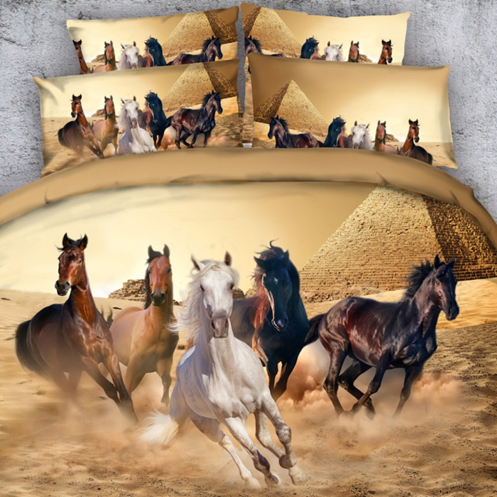 Royal Linen Source <font><b>3</b></font> PCS PER SET Wild horses and pyramid in desert 3d bed set Bed Cover with Blanket Cover Set 3D image
